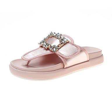 voordelige Damespantoffels & slippers-Dames Slippers & Flip-Flops Creepers Satijn Zomer Zwart / Roze
