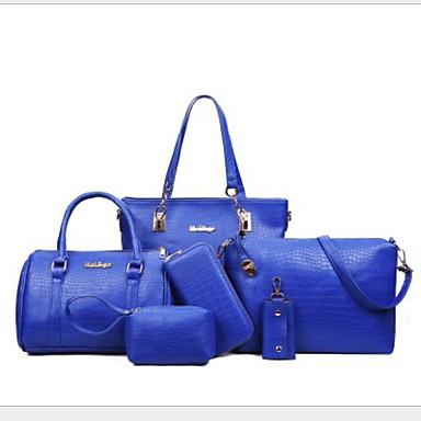 baratos Super Ofertas-Mulheres Ziper PU Conjuntos de saco 6 Pcs Purse Set Rosa / Cinzento / Roxo