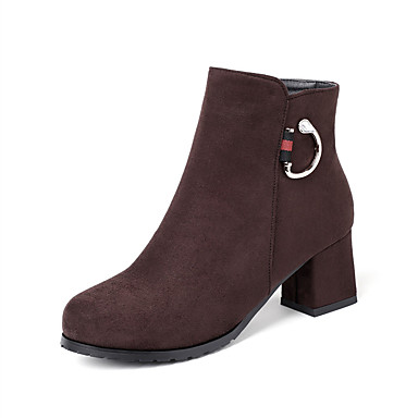 povoljno Ženske čizme-Žene Čizme Kockasta potpetica Okrugli Toe Brušena koža Čizme gležnjače / do gležnja Vintage / Ležerne prilike Zima Crn / Tamno smeđa