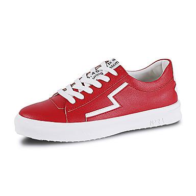 Erkek Ayakkabı PU Sonbahar Günlük Spor Ayakkabısı Günlük için Siyah / Beyaz / Kırmzı / Zıt Renkli