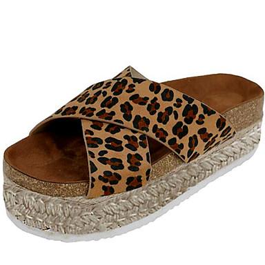 voordelige Damespantoffels & slippers-Dames Slippers & Flip-Flops Creepers PU Zomer Zwart / Luipaard / Donker Bruin