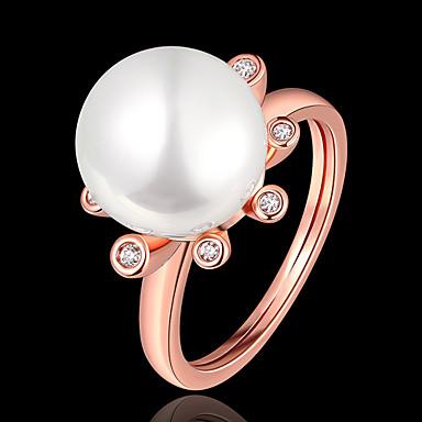 billige Motering-Dame Ring Perle 1pc Rose Gull Gullplatert rose Geometrisk Form Stilfull Fest / Daglig Kostyme smykker