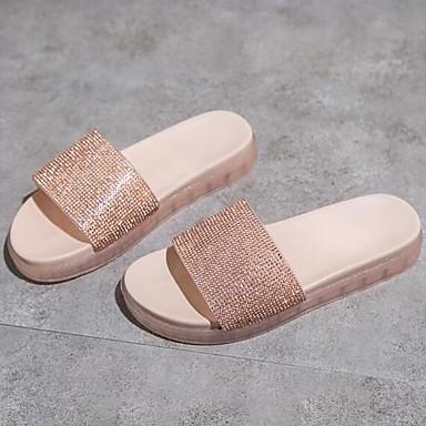 voordelige Damespantoffels & slippers-Dames Slippers & Flip-Flops Platte hak PU Zomer Wit / Geel / Roze