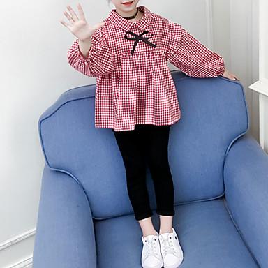 baratos Conjuntos para Meninas-Infantil Bébé Para Meninas Básico Moda de Rua Para Noite Casual Floral Quadriculada Laço Manga Longa Curto Curto Conjunto Preto