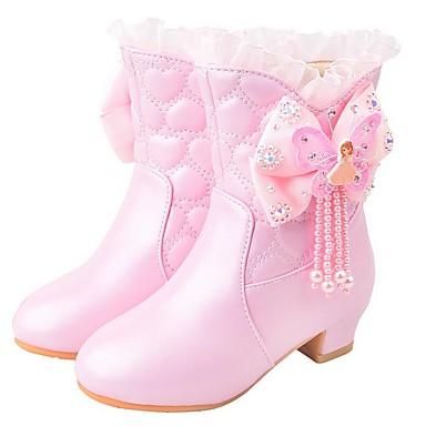 baratos Sapatos de Criança-Para Meninas Sintéticos Botas Little Kids (4-7 anos) Sapatos para Daminhas de Honra Roxo / Rosa claro Outono / Botas Cano Médio