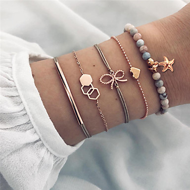 abordables Bracelet-5pcs Parure Bracelet Femme Géométrique Cœur Papillon Étoile de mer simple Bracelet Bijoux Dorée pour Cadeau Quotidien Ecole Vacances Travail