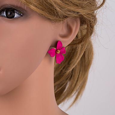 Kadın's Çoklurenk Vidali Küpeler Geometrik Çiçek Basit moda Romantik Moda Büyük Boy Altın Kaplama Küpeler Mücevher Yeşil / Beyaz / Fuşya Uyumluluk Günlük 1 çift