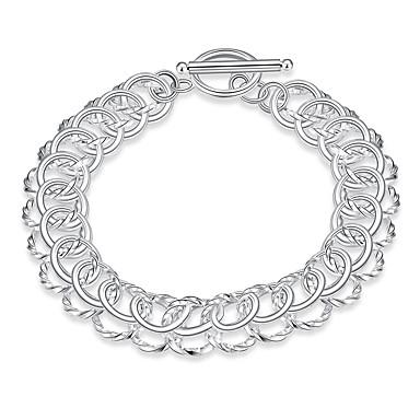 abordables Bracelet-Bracelets en Argent Femme Plaqué argent Donuts Elégant Bracelet Bijoux Argent Forme Géométrique pour Quotidien Festival