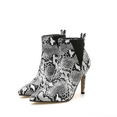 voordelige Dameslaarzen-Dames Laarzen Naaldhak Gepuntte Teen Rubber / Imitatieleer Korte laarsjes / Enkellaarsjes minimalisme Lente & Herfst zwart / wit