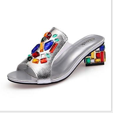 hesapli Kadın Sandaletleri-Kadın's Sandaletler Düz Taban Yuvarlak Uçlu Deri Yaz Siyah / Beyaz / Gümüş