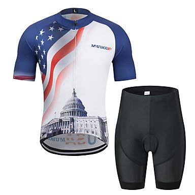 MUBODO Amerikan / ABD Ulusal Bayrak Erkek Kısa Kollu Şortlu Bisiklet Forması - Siyah / Mavi Bisiklet Giysi Takımları Nefes Alabilir Nem Emici Hızlı Kuruma Spor Dalları Tül Dağ Bisikletçiliği Yol