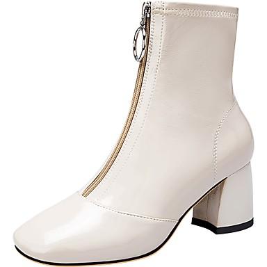 voordelige Dameslaarzen-Dames Laarzen Blokhak Vierkante Teen Lakleer Winter Zwart / Wit