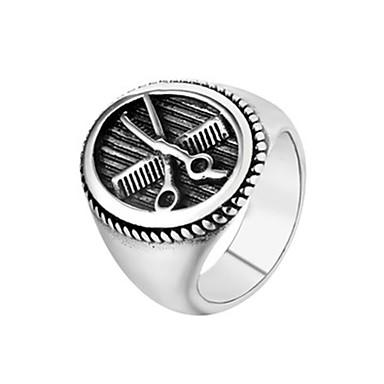 billige Motering-Herre Band Ring Ring 1pc Sølv Titanium Stål Sirkelformet Vintage Grunnleggende Mote Daglig Smykker Sakser Kul