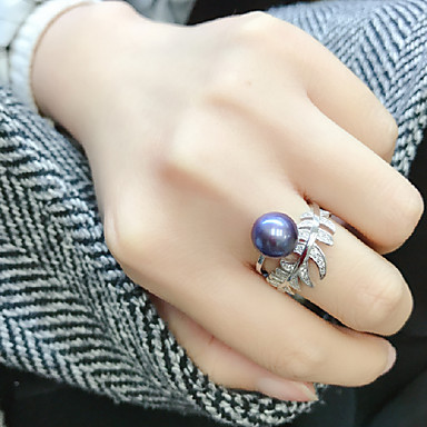 cheap Rings-Women's Open Ring / Adjustable Ring Freshwater Pearl 1pc Dark Blue Pearl / S925 Sterling Silver Circular Luxury / Classic / Elegant Wedding / Party / Engagement Costume Jewelry