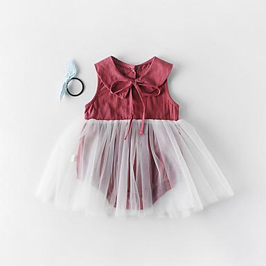 billige Babydrakter-3 deler Baby Jente Aktiv Ensfarget Sløyfe / Netting Ermeløs Body Hvit