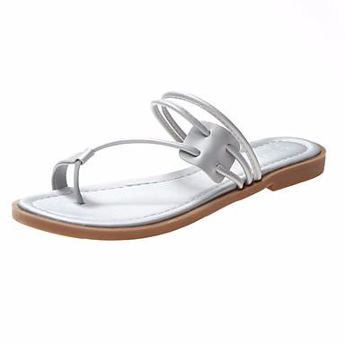 Kadın's Sandaletler Düz Taban PU Yaz Siyah / Yeşil / Gümüş