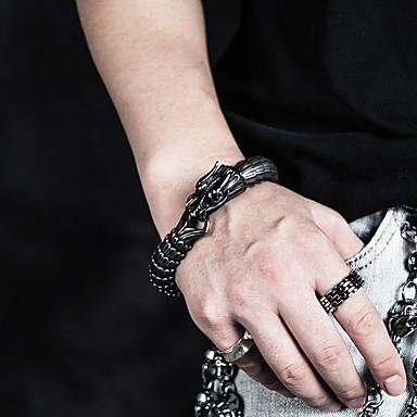 abordables Bracelet-Bracelets Vintage Bracelet Bracelet Chaîne Homme Femme Sculpture Acier au titane Dragon Gros Fantaisie unique Baroque Tendance Gothique Bracelet Bijoux Argent pour Cadeau Quotidien Carnaval Plein Air