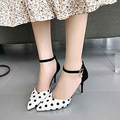 Kadın's Sandaletler Stiletto Topuk PU Yaz Siyah / Siyah / Beyaz / Beyaz