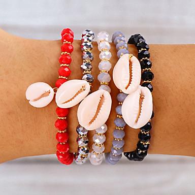 abordables Bracelet-Bracelet à Perles Bracelets Vintage Boucles d'oreilles / Bracelet Femme Tressé Argent Noir Rouge Coquillage Tissage Coquillage Rétro Vintage Mode Le style mignon Bohème Coloré Bracelet Bijoux Noir