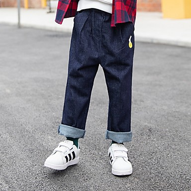 baratos Jeans Para Meninos-Infantil Para Meninos Sólido Jeans Azul