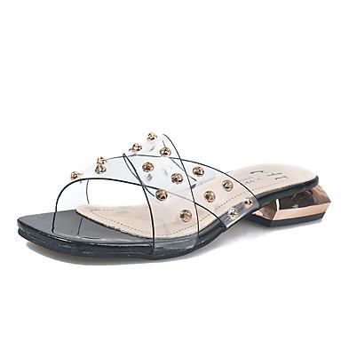 Kadın's Sandaletler Kalın Topuk Perçin PU Günlük Yaz Siyah / Yeşil / Beyaz