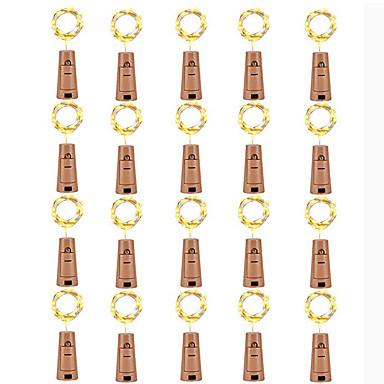 Loende barisc şarap şişesi ışıkları ile mantar 20 paketleri led peri ışıkları pil 2 m 20 leds gümüş bakır tel su geçirmez