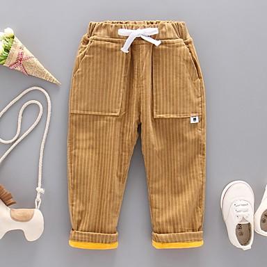 baratos Calças para Meninos-Infantil Para Meninos Listrado Jeans Cinzento