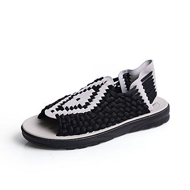 baratos Super Ofertas-Homens Sapatos Confortáveis Couro de Porco / Tecido elástico Primavera Verão Casual Sandálias Respirável Preto / Marron / Bege