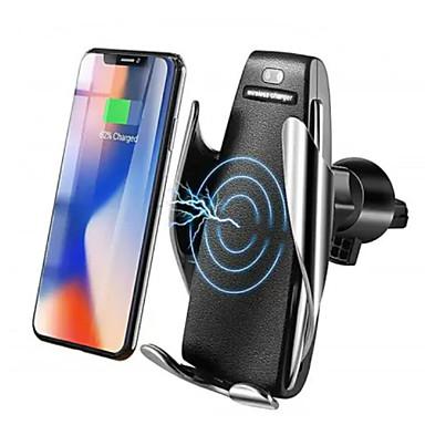 voordelige Automatisch Electronica-10 W Draadloze Infrarood Sensor Automatische Vastklemmen Snelle Autolader Mount Holder Stand Draadloze Oplader Qi Snel Auto Vastklemmen Mount Ventilatie voor Samsung / iPhone X XS / Huawei P30 Mate20