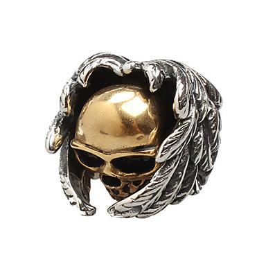 voordelige Herensieraden-Heren Ring 1pc Zwart Titanium Staal Cirkelvormig Vintage Standaard Modieus Dagelijks Sieraden Schedel Engelenvleugels Cool