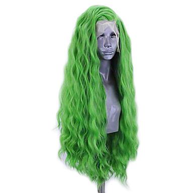 povoljno Perike i ekstenzije-Prednja perika od sintetičkog čipke Wavy Stil Stražnji dio Lace Front Perika Zelena Sintentička kosa 20-26 inch Žene Prilagodljiv Otporan na toplinu Party Zelena Perika Dug / Da