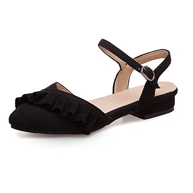 Kadın's Terlikler ve Sandaletler Düşük Topuk Yuvarlak Uçlu PU İngiliz İlkbahar yaz Siyah / Bej