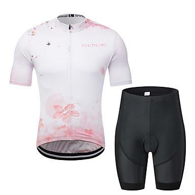 MUBODO Çiçek / Botanik Erkek Kısa Kollu Şortlu Bisiklet Forması - Siyah / Beyaz Bisiklet Giysi Takımları Nefes Alabilir Nem Emici Hızlı Kuruma Spor Dalları Tül Dağ Bisikletçiliği Yol Bisikletçiliği