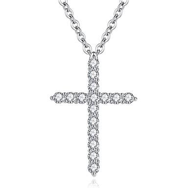 voordelige Dames Sieraden-Dames Hangertjes ketting Kruiselings Kruis Europees Rock Zirkonia Kromi Zilver 45 cm Kettingen Sieraden 1pc Voor Dagelijks