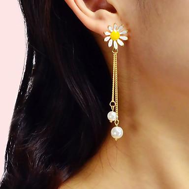 Kadın's Damla Küpeler Geometrik Çiçek Romantik Zarif İmitasyon İnci Küpeler Mücevher Beyaz Uyumluluk Parti Karnaval Cadde Çalışma 1 çift