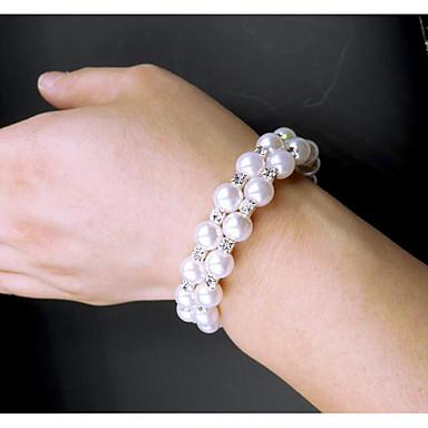 abordables Bracelet-Bracelet Femme Cravate Imitation de perle Imitation Diamant Boule Classique Bracelet Bijoux Blanche pour Quotidien