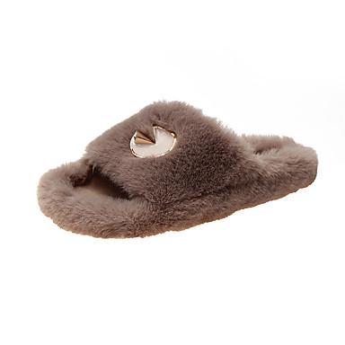 voordelige Damespantoffels & slippers-Dames Slippers & Flip-Flops Platte hak Ronde Teen Imitatiebont Herfst winter Zwart / Bruin / Khaki