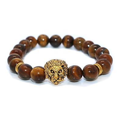 abordables Bracelet-Bracelet à Perles Homme Femme Classique Lion Décontracté / Sport Ethnique Bracelet Bijoux Dorée pour Plein Air