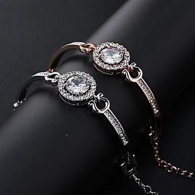 abordables Bracelet-Bracelet Femme Classique Zircon cubique Imitation Diamant Flocon de Neige Donuts Flèche Elégant Classique Bracelet Bijoux Dorée Rose Argent Rond pour Quotidien