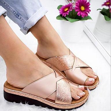 hesapli Kadın Sandaletleri-Kadın's Sandaletler Düz Taban Yuvarlak Uçlu Mikrofiber Yaz Siyah / Beyaz / Mor