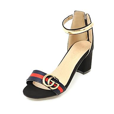 hesapli Kadın Sandaletleri-Kadın's Sandaletler Kalın Topuk Açık Uçlu Payet / Perçin / Toka Suni Deri / Elastik Kumaş Günlük / Minimalizm Yürüyüş Yaz / İlkbahar yaz Siyah / Yeşil / Kırmzı / Zıt Renkli