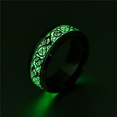 voordelige Dames Sieraden-Heren Dames Ring Lichtgevende steen 1pc Goud Zwart Zilver Roestvast staal Cirkelvormig Vintage Standaard Modieus Lahja Sieraden Cool