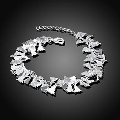 abordables Bracelet-Chaînes Bracelets Femme Rétro Plaqué argent Fleur Elégant Bracelet Bijoux Argent Forme Géométrique pour Quotidien Festival