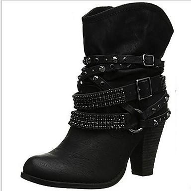 Kadın's Çizmeler Kalın Topuk Yuvarlak Uçlu Toka PU Yarı-Diz Boyu Çizmeler Kış Siyah / Kahverengi / Kahve