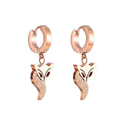 voordelige Dames Sieraden-Dames Druppel oorbellen Sculptuur Vos Eenvoudig Modern Roestvast staal oorbellen Sieraden Goud Voor Feest Verloving Club Bar Belofte 1 paar
