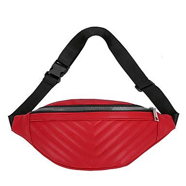 baratos Super Ofertas-Mulheres Ziper PU Bolsa de Cintura Côr Sólida Vermelho / Rosa / Amarelo / Outono & inverno