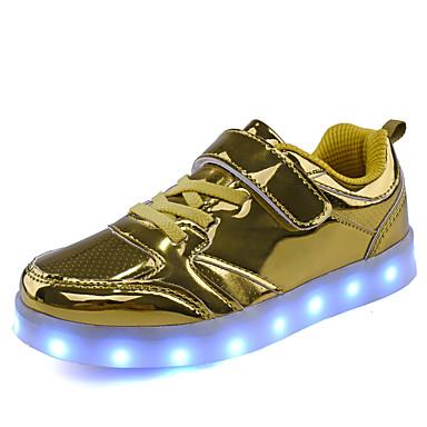 baratos Sapatos de Criança-Para Meninos Couro Ecológico Tênis Big Kids (7 anos +) Tênis com LED Lantejoulas / LED Dourado / Rosa claro / Prateado Outono / Inverno