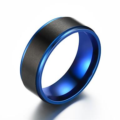 billige Motering-Herre Band Ring / Ring / Tail Ring 1pc Blå Rustfritt Stål Sirkelformet Vintage / Grunnleggende / Mote Gave Kostyme smykker