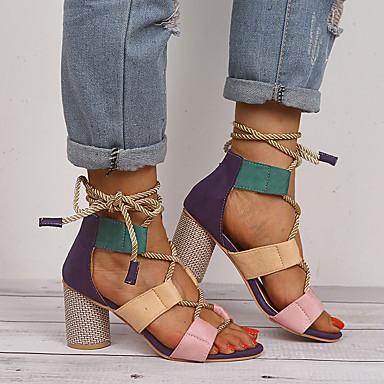 Kadın's Sandaletler Kalın Topuk Açık Uçlu Fiyonk PU Tatlı / Minimalizm Yaz Mor / Turuncu / Sarı