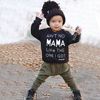 billige Babyklær Gutter-Baby Gutt Fritid / Aktiv Ensfarget / Trykt mønster Trykt mønster Langermet Normal Tøysett Svart